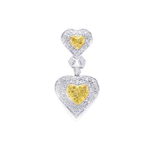 Yellow Diamond Pendant with White Diamond in Sterling Silver 1ct