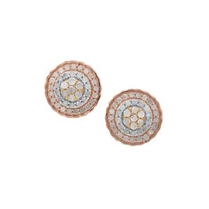 Diamond Earrings in Three Tone Gold Plated Sterling Silver 0.76ct