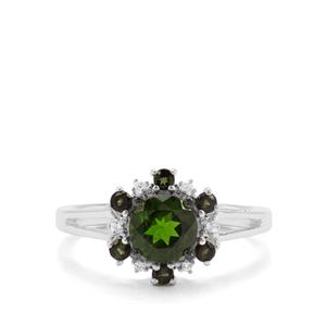 Chrome Diopside , Green Tourmaline & White Zircon Sterling Silver Ring ATGW 1.24cts