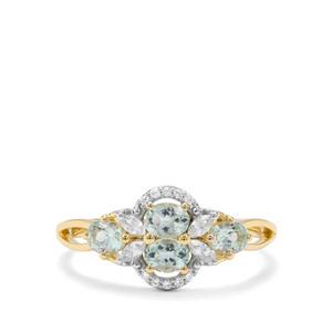 Aquaiba™ Beryl & White Zircon 9K Gold Ring ATGW 0.83cts