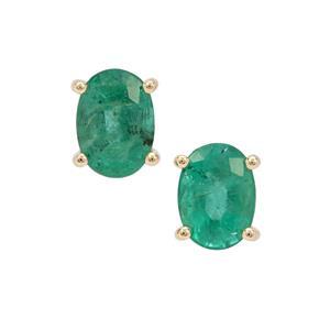 Zambian Emerald Earrings in 9K Gold 1.50cts