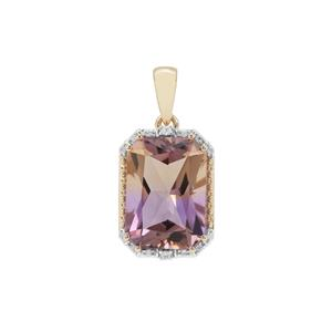 Anahi Ametrine Pendant with White Zircon in 9K Gold 6.41cts