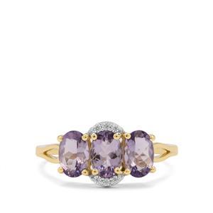 Mahenge Purple Spinel & White Zircon 9K Gold Ring ATGW 1.70cts