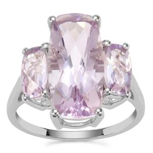 Rose De France Amethyst Ring in Sterling Silver 6.17cts