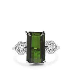 Green Tourmaline Ring with Diamond in 18K White Gold 5.53cts