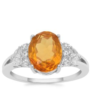 Burmese Amber Ring with White Zircon in Sterling Silver 1.37cts