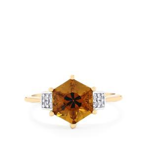 Whisky Quartz Polaris Ring with Diamond in 9K Gold 2.36cts