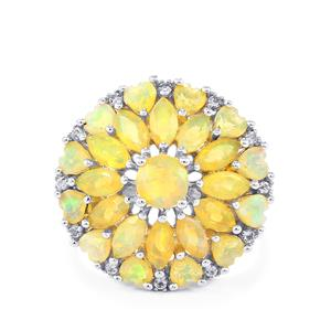 Ethiopian Opal Ring with White Topaz in Sterling Silver 2.66cts