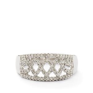 1/3ct Diamond Lattice Weave Sterling Silver Ring