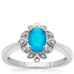 Ethiopian Paraiba Blue Opal Ring in Sterling Silver 0.50ct