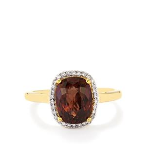 Color Change Garnet Ring with Diamond in 18k Gold 4.16cts