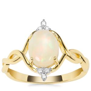 Coober Pedy Opal Ring with Argyle Diamond in 9K Gold 0.97ct