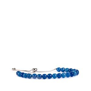 39ct Blue Jade Sterling Silver Slider Bead Bracelet