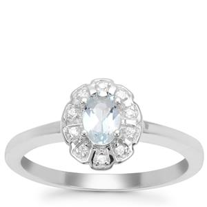Pedra Azul Aquamarine Ring with White Zircon in Sterling Silver 0.38ct