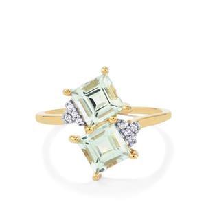 Espirito Santo Aquamarine Ring with White Zircon in 10k Gold 1.83cts