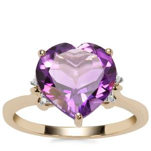 Moroccan Amethyst Ring with Diamond in 10K Gold 3.85cts