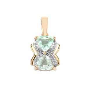 Paraiba Tourmaline Pendant with Diamond in 9K Gold 0.95ct