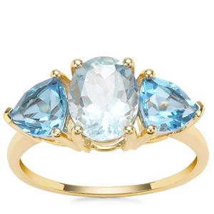 Madagascan Aquamarine Ring with Swiss Blue Topaz in 9K Gold 3.67cts