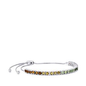 3.19ct Rainbow Tourmaline Sterling Silver Slider Bracelet
