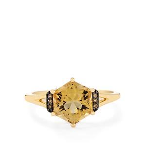 Champagne Quartz & Champagne Diamond 9K Gold Polaris Ring ATGW 2.39cts