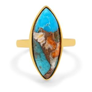 Oyster Copper Mohave Turquoise Ring in Gold Plated Sterling Silver 9.50cts