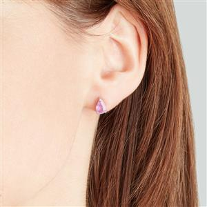 Ilakaka Hot Pink Sapphire Earrings in Sterling Silver 1.97cts (F)