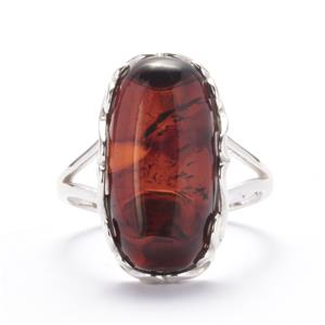 Baltic Cherry Amber Ring in Sterling Silver (19 x 9mm)