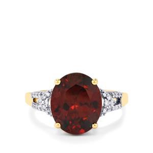 Zanzibar Zircon & Diamond 18K Gold Tomas Rae Ring MTGW 6.64cts