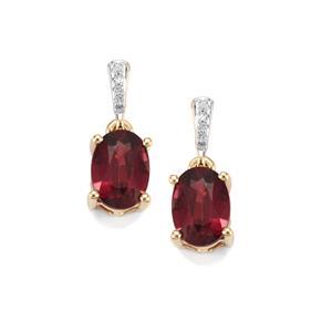 Malawi Garnet Earrings with Diamond in 9K Gold 2.20cts