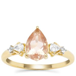 Oregon Cherry Sunstone Ring with White Zircon in 9K Gold 1.47cts