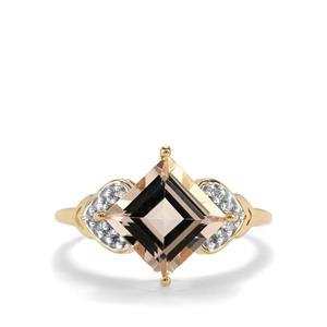 Alto Ligonha Morganite Ring with Diamond in 10K Gold 2.37cts