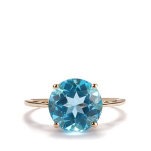 Swiss Blue Topaz Ring  in 10k Gold 4.66cts