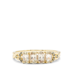 Csarite® Ring with Green Diamond in 9K Gold 0.98ct