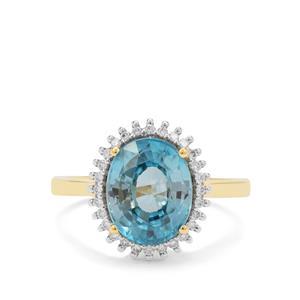 Ratanakiri Blue Zircon Ring with Diamond in 18K Gold 4.85cts