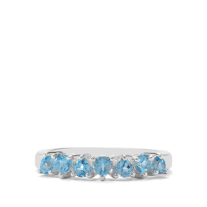 0.78ct Swiss Blue Topaz Sterling Silver Ring