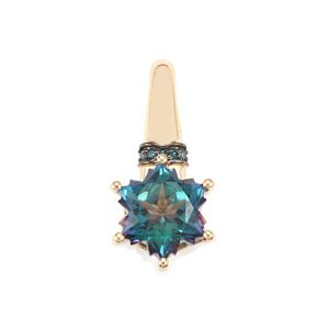 Mystic Blue Topaz Wobito Snowflake Pendant with Blue Diamond in 10k Gold 2.83cts