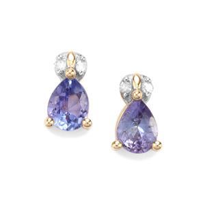 AA Tanzanite & Diamond 10K Gold Earrings ATGW 0.54cts
