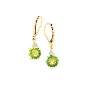 Lehrer KaleidosCut Green Gold Quartz, Zambian Emerald Earrings with Diamond in 10K Gold 3.45cts