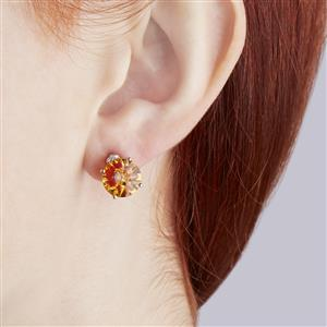Lehrer KaleidosCut Rio Golden Citrine, Madagascan Ruby Earrings with Diamond in 10K Gold 5.74cts (F)