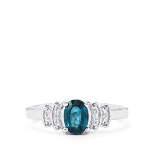 Orissa Kyanite & White Topaz Sterling Silver Ring ATGW 1.12cts