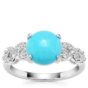 Sleeping Beauty Turquoise Ring with White Zircon in Sterling Silver 2.46cts