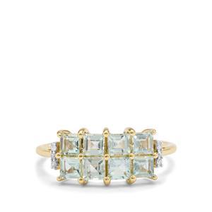 Aquaiba™ Beryl & Diamond 9K Gold Ring ATGW 1.05cts