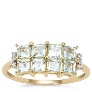 Aquaiba™ Beryl Ring with Diamond in 9K Gold 1.05cts