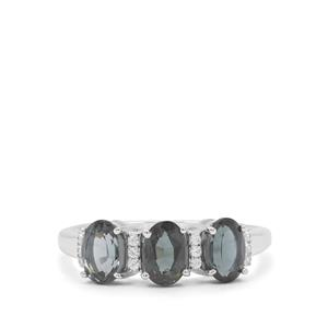 Mogok Silver Spinel Ring with White Zircon in Sterling Silver 1.84cts