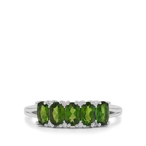 Chrome Diopside & White Zircon Sterling Silver Ring ATGW 1.20cts