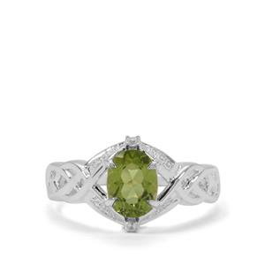 Red Dragon Peridot Ring with White Zircon in Sterling Silver 1.56cts