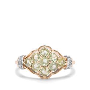 Alexandrite & White Zircon 9K Gold Ring ATGW 1.20cts