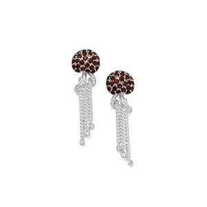 Rhodolite Garnet & White Zircon Sterling Silver Jellyfish Earrings ATGW 2.85cts