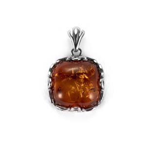 Baltic Cognac Amber Pendant in Sterling Silver (16mm)
