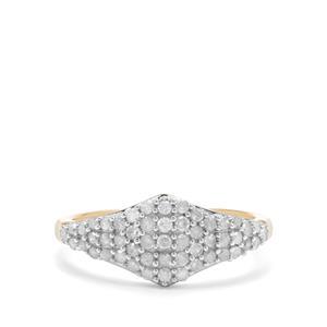 1/2ct White Diamond 9K Gold Ring